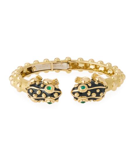 David Webb 18k Gold Baby Frog Cuff Bracelet