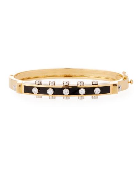 """Motif"" Studlette 18k Gold & Enamel Bangle Bracelet with Platinum-Set Diamonds, Black"
