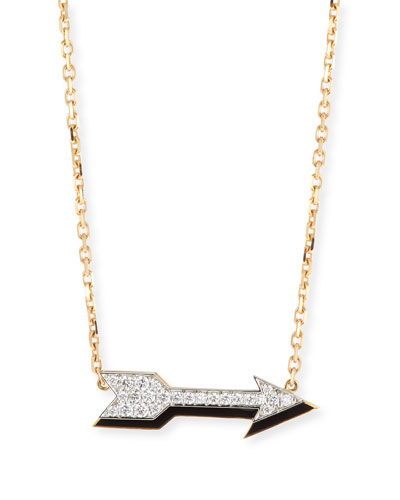 Motif 18k Gold Diamond Arrow Pendant Necklace with Black Enamel