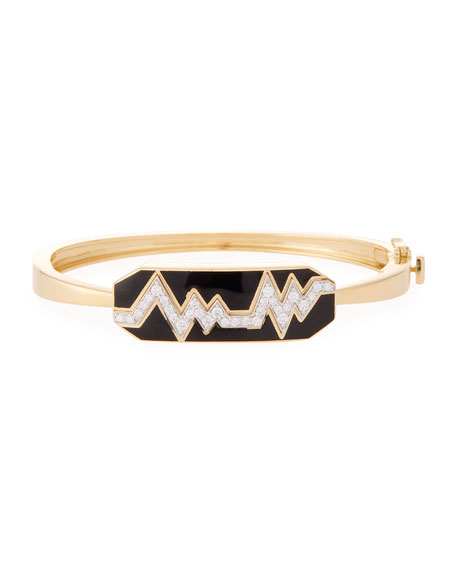 """Motif"" 18k Gold Diamond Skip Zigzag Bracelet with Black Enamel & Platinum"