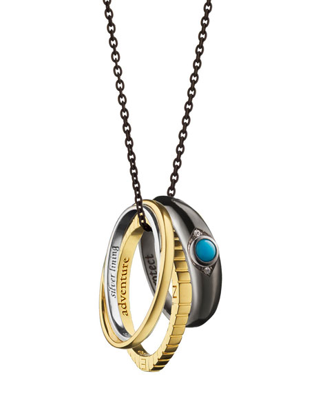 "Monica Rich Kosann 18k Yellow Gold and Sterling Silver ""Adventure"" Poesy Ring Necklace"