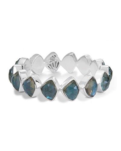 Faceted Aqua Quartz & Mother-of-Pearl Doublet Bangle Bracelet
