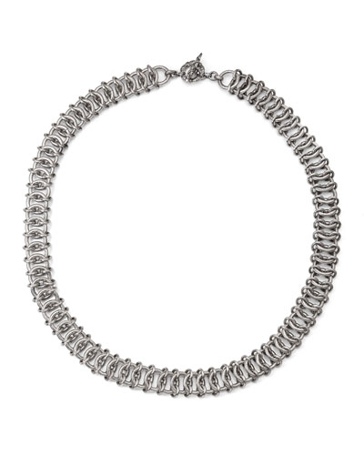Silver Engraved Chain Mail Necklace
