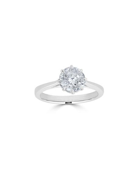 ZYDO 18k White Gold Mosaic Round Diamond Ring, Size 6.5