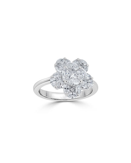 18k Mosaic Flower Diamond Ring, Size 7