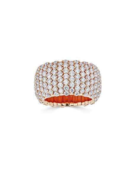 18k Rose Gold Wide Diamond Stretch Ring, Size 7.25