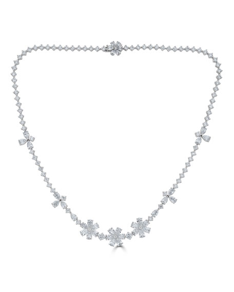 18k Luminal Mixed Diamond Flower Necklace