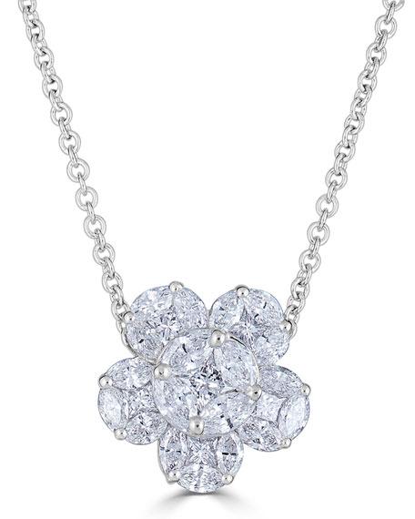 ZYDO 18k Mosaic Flower Diamond Pendant Necklace
