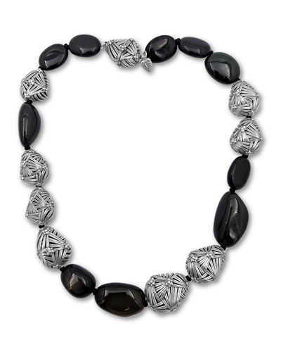 Small Freeform Silver & Black Agate Nugget Necklace
