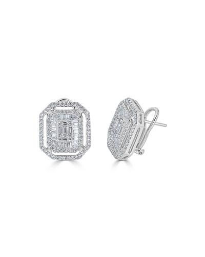 18k Mosaic Mixed-Cut Stud Earrings
