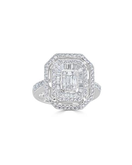ZYDO 18k Mosaic Mixed-Cut Diamond Ring, Size 7