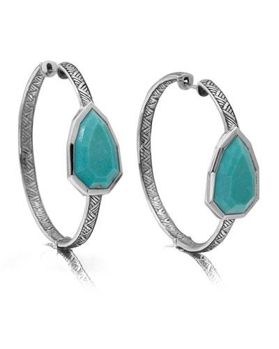 Large Silver Turquoise Pear Hoop Earrings