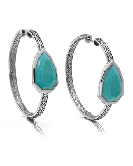 Large Silver Turquoise Pear Hoop Earrings