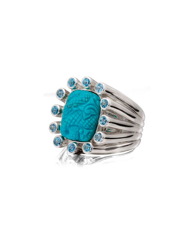 Carved Turquoise Silver Statement Ring w/ Blue Topaz