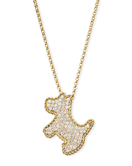 18k Yellow Gold Diamond Scottie Dog Pendant Necklace