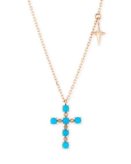 Stevie Wren 14k Turquoise & Diamond Cross Pendant