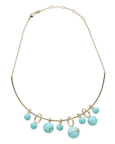18k Gold Nova Cluster Tube Collar Necklace w/ Turquoise