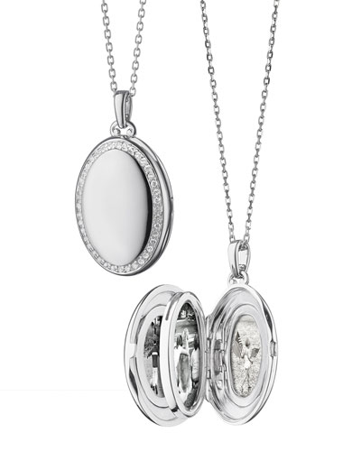 Sterling Silver Midi 4-Image Locket Necklace with White Sapphires  32