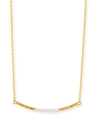 22k Gold Curved Bar Necklace w/ Diamonds