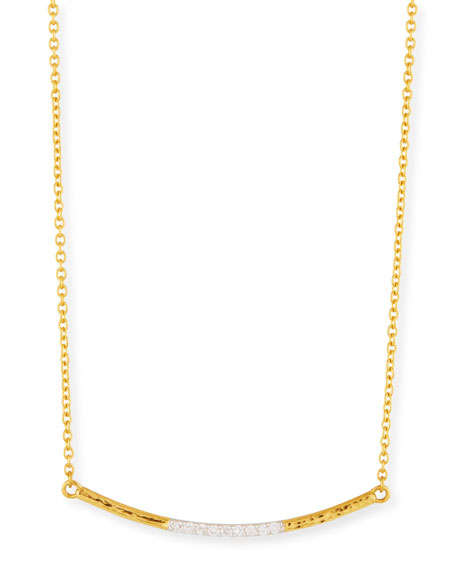 22k Gold Curved Bar Necklace w/ Diamonds