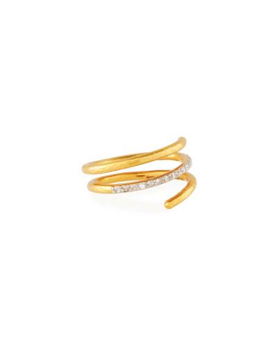 22k Gold Delicate Geo Pave Short Spiral Ring