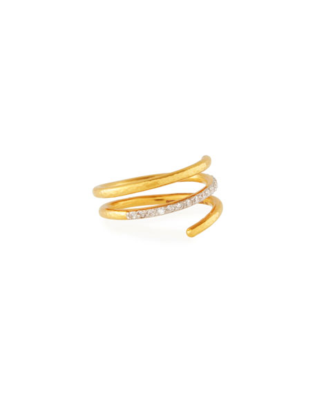 22k Gold Delicate Geo Pave Short Spiral Ring, Size 7