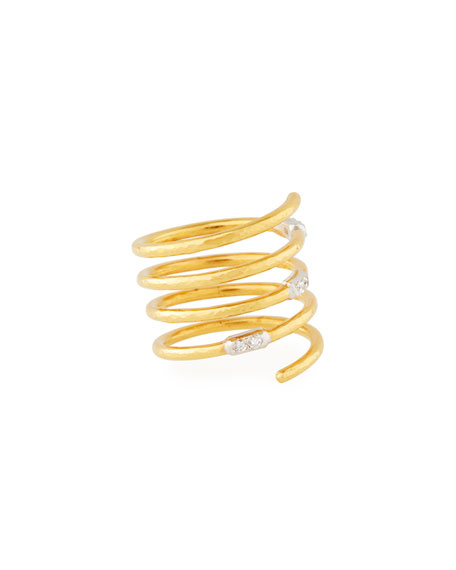 22k Gold Delicate Geo Pave Spiral Ring
