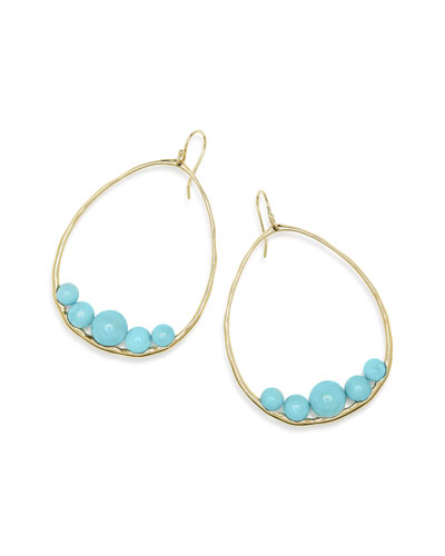 18k Gold Nova Pear Drop Earrings w/ Turquoise