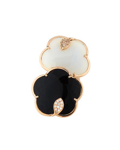 Ton Joli 18k Rose Gold Black & White Ring w/ Diamonds