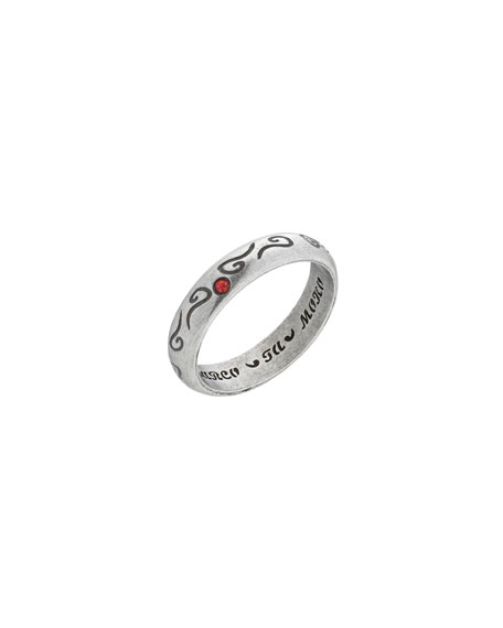 Marco Dal Maso Men's Silver Band Ring with Red Sapphire, Size 10