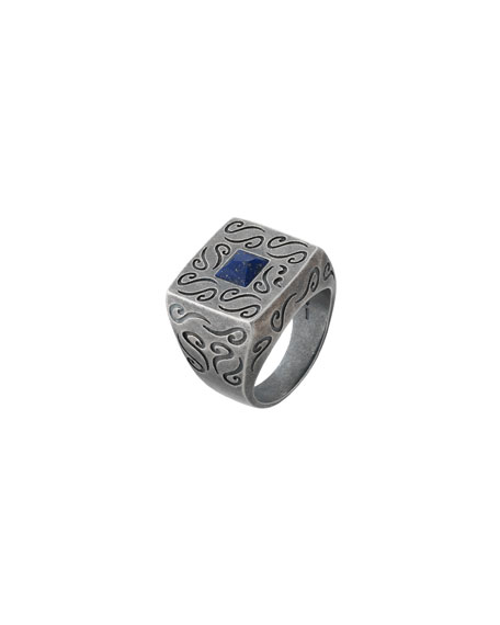 Marco Dal Maso Men's Oxidized Silver Ring with Lapis, Size 10