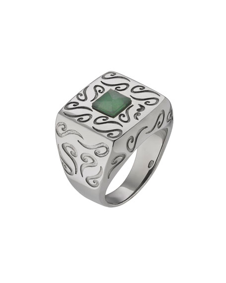 Marco Dal Maso Men's Oxidized Silver Ring with Aventurine, Size 10