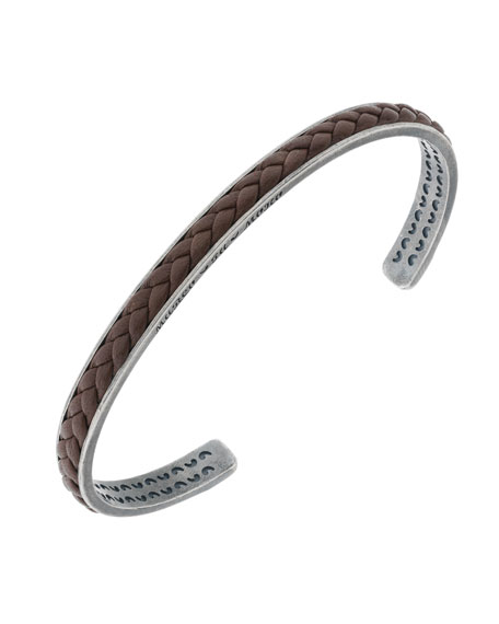 Marco Dal Maso Men's Braided Leather/Silver Kick Cuff Bracelet, Brown