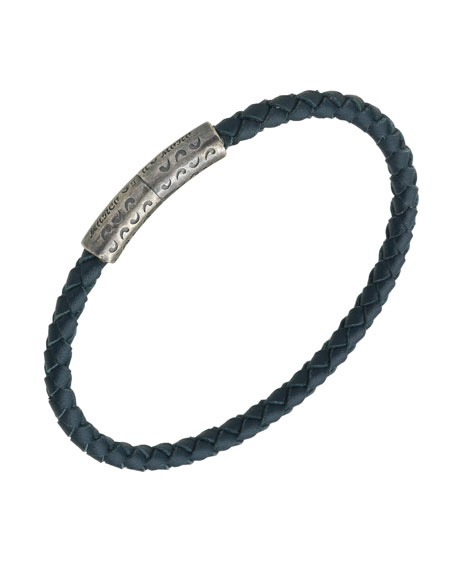 Marco Dal Maso Men's Thin Woven Leather Bracelet, Blue