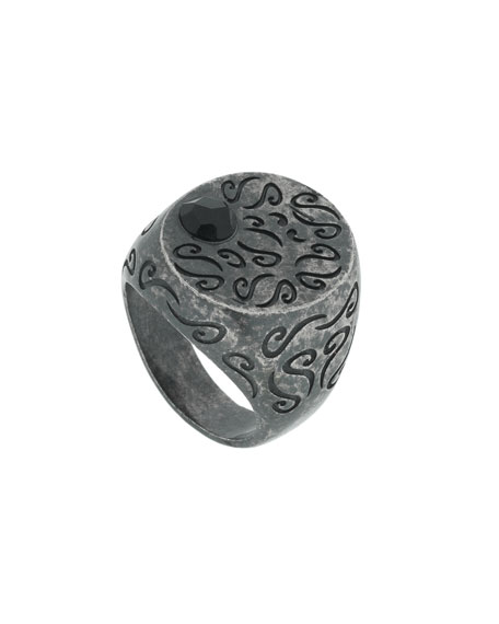 Marco Dal Maso Men's Round Oxidized Silver Ring with Onyx, Size 9.5