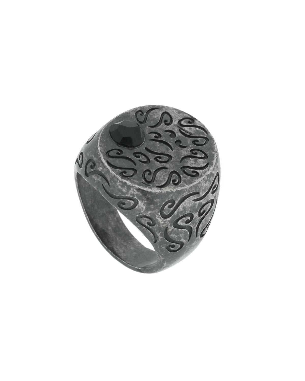 1d335da6b20 Marco Dal Maso Men's Round Oxidized Silver Ring with Onyx, Size 9.5 ...