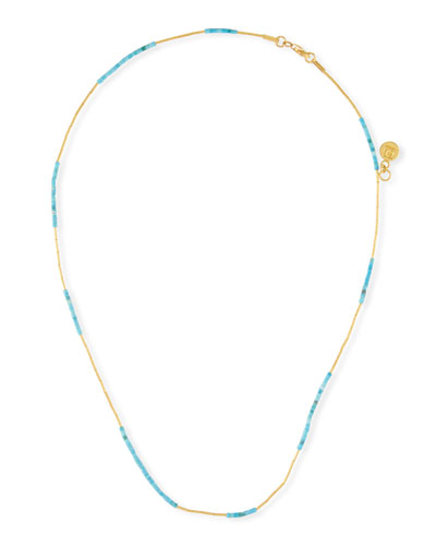 24k Waterfall Turquoise Necklace