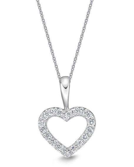 Memoire 18k White Gold Diamond Heart Pendant Necklace