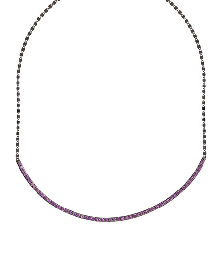 14k Black Gold Choker Necklace w/ Pink Sapphires
