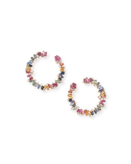 18k Rose Gold Rainbow Fireworks Spiral Hoop Earrings