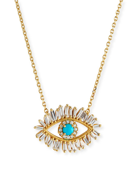 18k Diamond & Turquoise Evil Eye Pendant Necklace