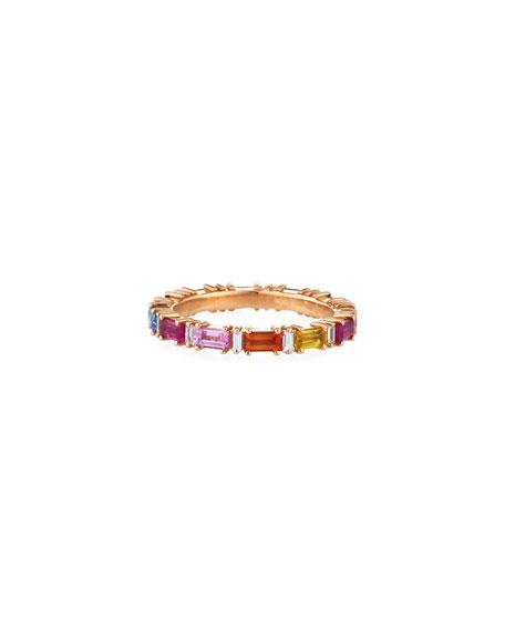 Suzanne Kalan 18k Rose Gold Eternity Diamond & Rainbow Sapphire Band Ring, Size 6.5