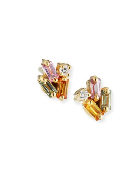 18k Yellow Gold Rainbow Fireworks Earrings