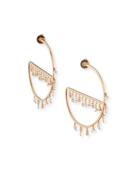 18k Rose Gold Baguette Diamond Hoop Earrings