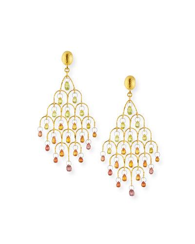 Delicate Dew 22k Gold Chandelier Earrings