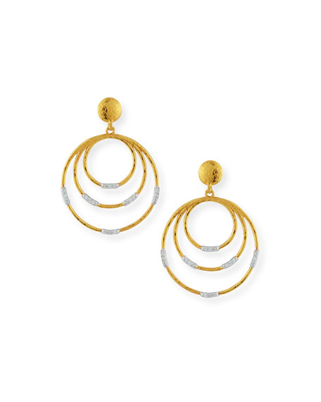 Gurhan 22k Gold Delicate Geo Round Drop Earrings