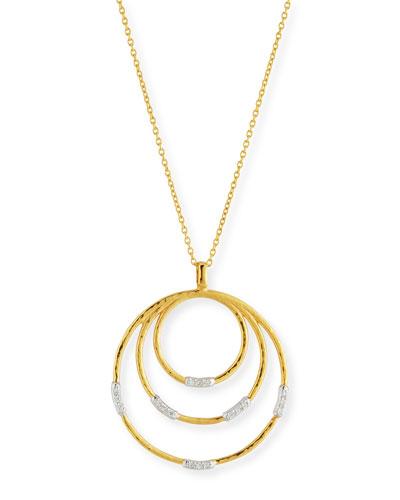 22k Gold Delicate Geo Round Pendant Necklace w/ Diamonds, 18