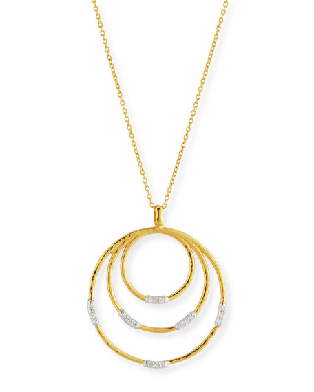 22k Gold Delicate Geo Round Pendant Necklace w/ Diamonds, 18""