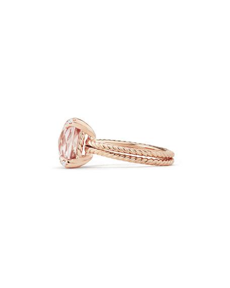 David Yurman Châtelaine 11mm Rose Gold  Ring with Morganite & Diamonds, Size 7