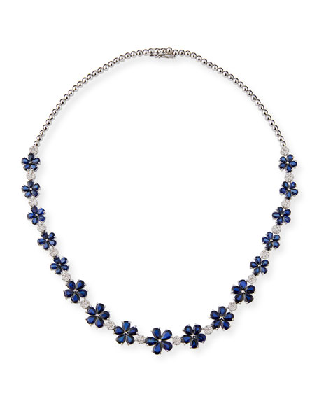 ZYDO 18k White Gold Sapphire Flower Necklace